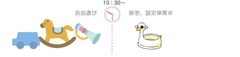10:30〜 自由遊び、排泄※設定保育