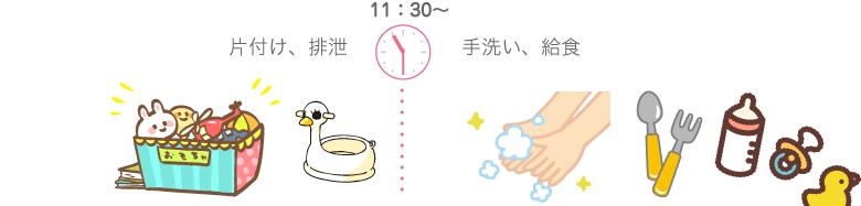 11:30〜 片付け、排泄、手洗い、給食