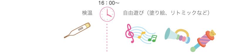 16:00〜 検温、自由遊び(リトミックなど)